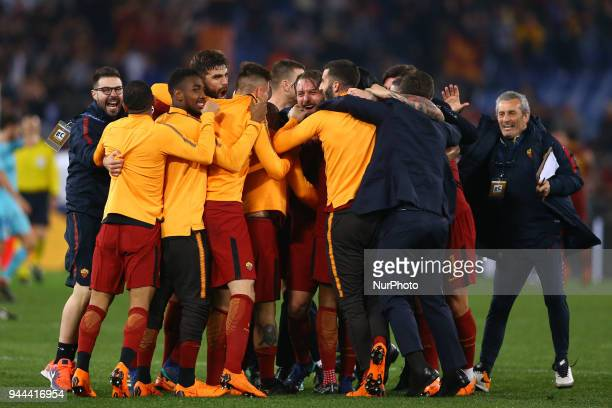 UEFA Champions League quarterfinals 2nd leg Daniele De Rossi of Roma celebrates with the teammates at Olimpico Stadium in Rome Italy on April 10 2018