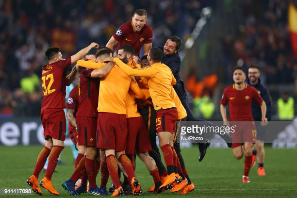 UEFA Champions League quarterfinals 2nd leg Edin Dzeko of Roma celebrates with the teammates at Olimpico Stadium in Rome Italy on April 10 2018