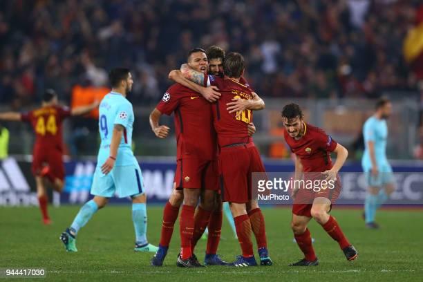 UEFA Champions League quarterfinals 2nd leg Juan Jesus Federico Fazio and Daniele De Rossi celebration at Olimpico Stadium in Rome Italy on April 10...