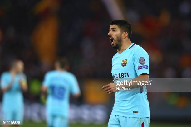 UEFA Champions League quarterfinals 2nd leg Luis Suarez of FC Barcelona at Olimpico Stadium in Rome Italy on April 10 2018
