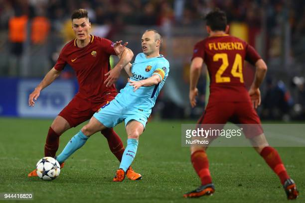 UEFA Champions League quarterfinals 2nd leg Patrick Schick of Roma and Andres Iniesta of FC Barcelona at Olimpico Stadium in Rome Italy on April 10...