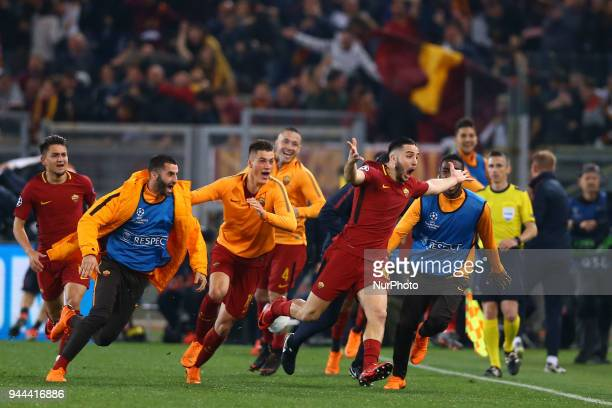 UEFA Champions League quarterfinals 2nd leg Konstantin Manolas of Roma celebrates with the teammates after the decisive goal scored at Olimpico...