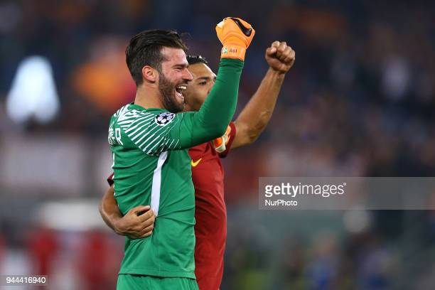 UEFA Champions League quarterfinals 2nd leg Alisson Becker of Roma and Juan Jesus of Roma celebration at Olimpico Stadium in Rome Italy on April 10...