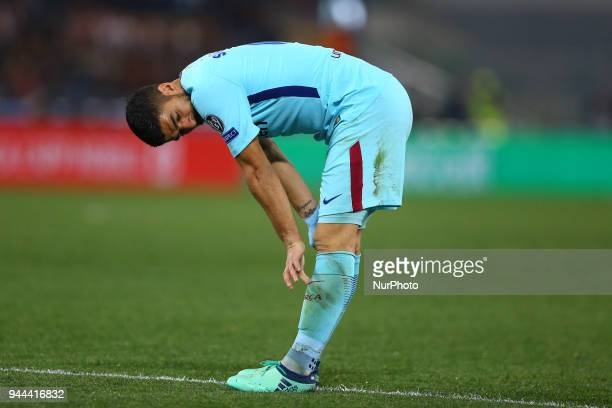 UEFA Champions League quarterfinals 2nd leg The disappointment of Luis Suarez of FC Barcelona at Olimpico Stadium in Rome Italy on April 10 2018