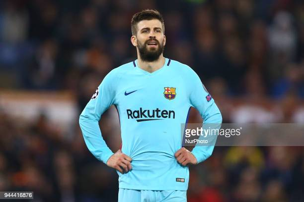 UEFA Champions League quarterfinals 2nd leg The disappointment of Gerard Pique of FC Barcelona at Olimpico Stadium in Rome Italy on April 10 2018