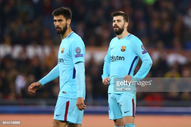 UEFA Champions League quarterfinals 2nd leg The disappointment of Andre Gomes and Gerard Pique of FC Barcelona at Olimpico Stadium in Rome Italy on...
