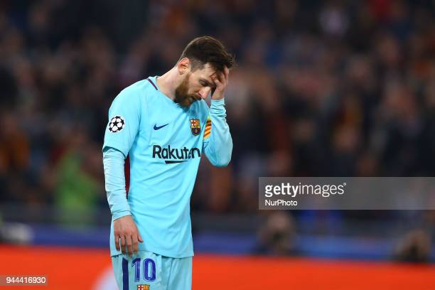 Roma v FC Barcelona : UEFA Champions League quarter-finals 2nd leg The disappointment of Lionel Messi of FC Barcelona at Olimpico Stadium in Rome,...