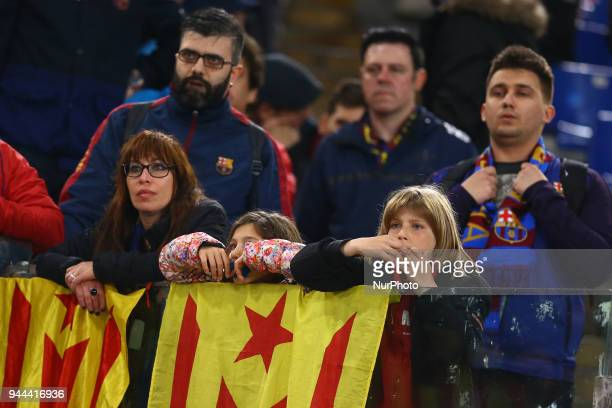 UEFA Champions League quarterfinals 2nd leg The disappointment of Barcelona supporters at Olimpico Stadium in Rome Italy on April 10 2018