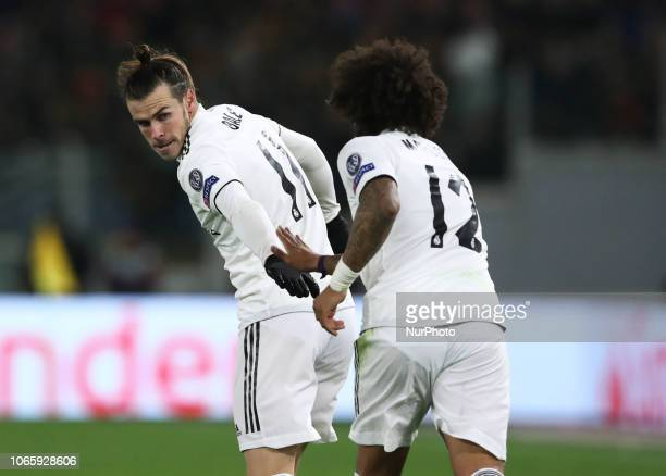 UEFA Champions League Group G Gareth Bale and Marcelo of Real Madrid celebrate at Olimpico Stadium in Rome Italy on November 27 2018