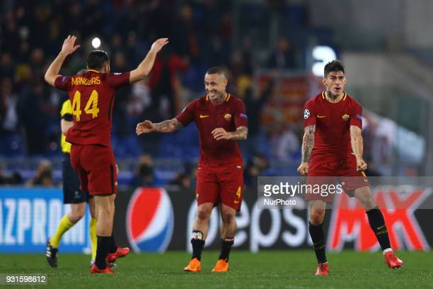 UEFA Champions League Round of 16 Second leg Radja Nainggolan of Roma and Konstantin Manolas of Roma celebration at Olimpico Stadium in Rome Italy on...