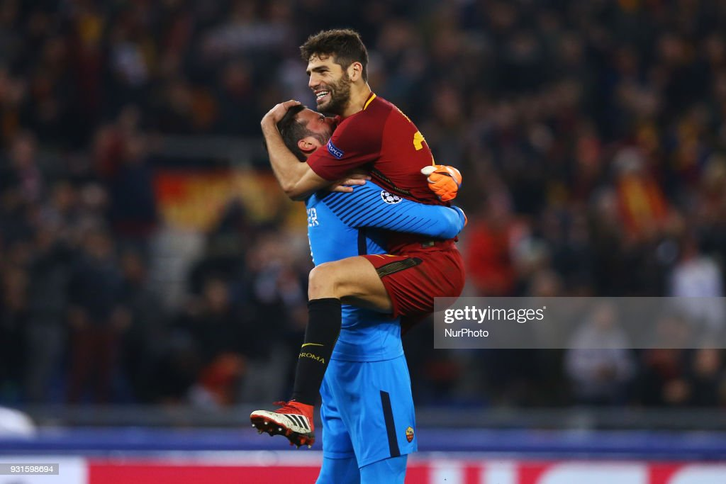 Champions League Round of 16 Second leg Alisson Becker and Federico Fazio of Roma celebrate at Olimpico Stadium in Rome, Italy on March 13, 2018.