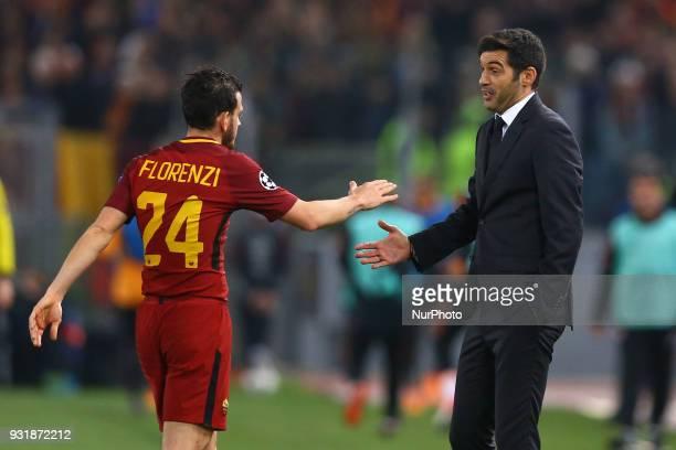 UEFA Champions League Round of 16 Second leg Alessandro Florenzi of Roma and Shakhtar Donetsk manager Paulo Fonseca at Olimpico Stadium in Rome Italy...