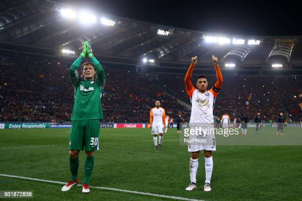 UEFA Champions League Round of 16 Second leg Andriy Pyatov and Taison of Shakhtar Donetsk greeting the supporters at Olimpico Stadium in Rome Italy...
