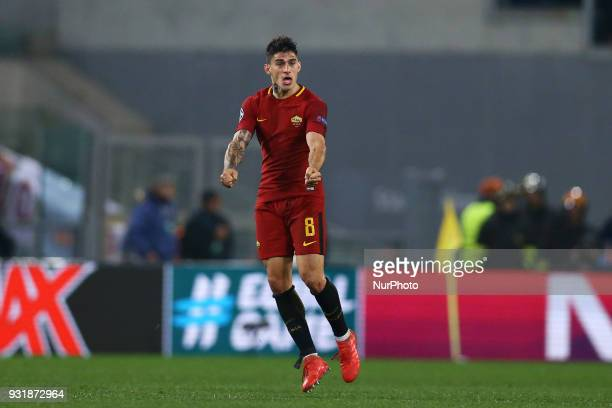 UEFA Champions League Round of 16 Second leg Diego Perotti of Roma celebration at Olimpico Stadium in Rome Italy on March 13 2018