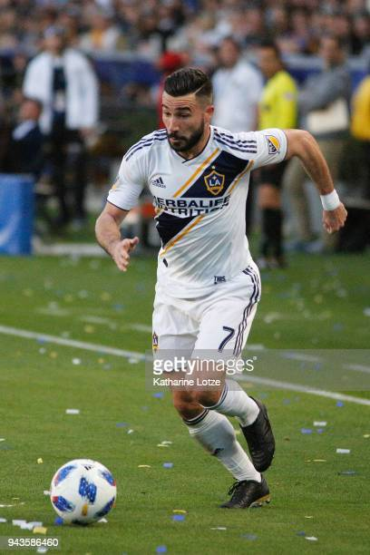 Romain Alessandri of the Los Angeles Galaxy dribbles the ball during a game against Sporting Kansas City at StubHub Center on April 8 2018 in Carson...