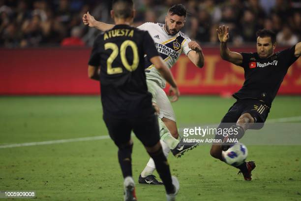Romain Alessandrini of LA Galaxy scores a goal to make it 2-1 during the MLS match between LAFC and LA Galaxy at Banc of California Stadium on July...
