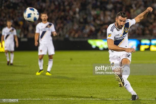 Romain Alessandrini of Los Angeles Galaxy attempts a shot against the Colorado Rapids at Dick's Sporting Goods Park on August 4 2018 in Commerce City...