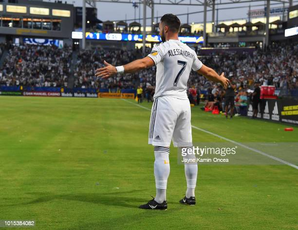 Romain Alessandrini of Los Angeles Galaxy celebrates after a goal in the first half of the game against the Minnesota United at StubHub Center on...