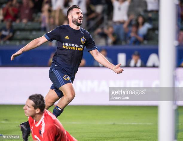 Romain Alessandrini of Los Angeles Galaxy celebrates his 2nd goal during the Los Angeles Galaxy's MLS match against Minnesota United at the StubHub...