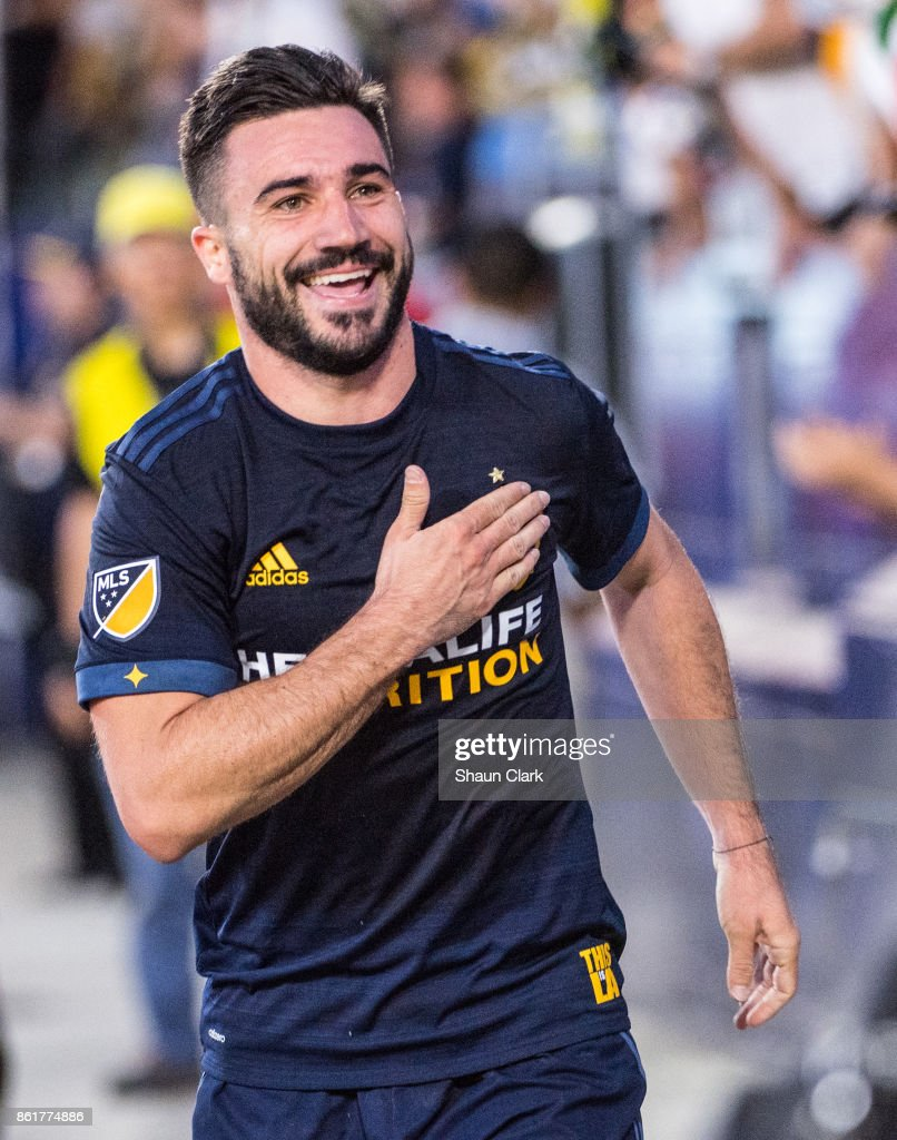 Romain Alessandrini #7 of Los Angeles Galaxy celebrates his 2nd goal during the Los Angeles Galaxy's MLS match against Minnesota United at the StubHub Center on October 15, 2017 in Carson, California. Los Angeles Galaxy won the match 3-0