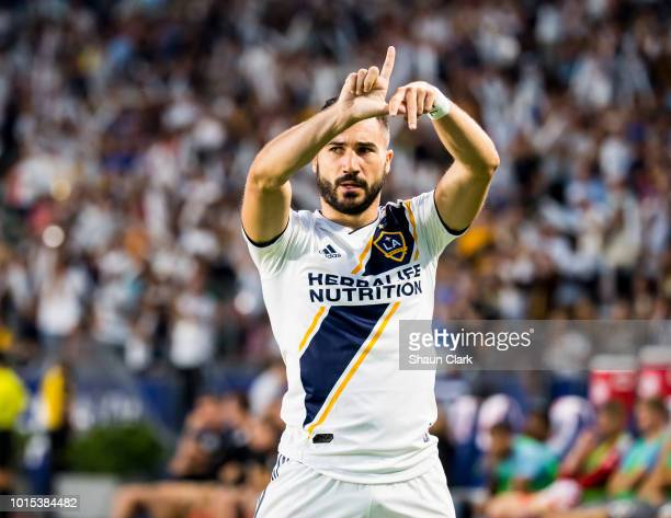Romain Alessandrini of Los Angeles Galaxy celebrates his goal during the Los Angeles Galaxy's MLS match against Minnesota United at the StubHub...