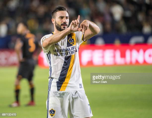Romain Alessandrini of Los Angeles Galaxy celebrates his goal during the Los Angeles Galaxy's MLS match against Houston Dynamo at the StubHub Center...