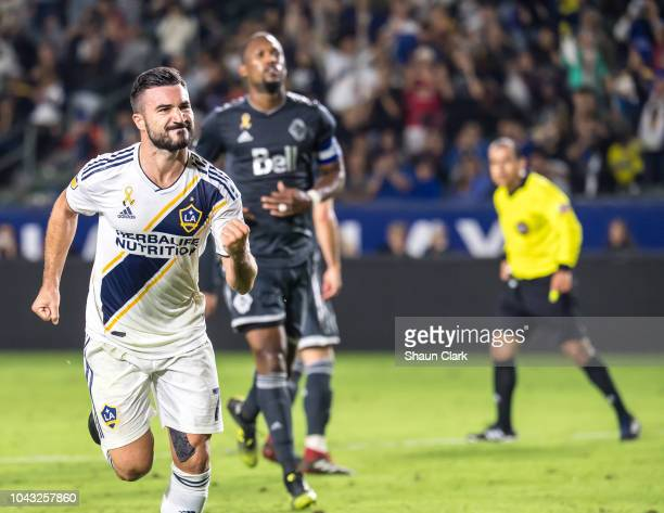 Romain Alessandrini of Los Angeles Galaxy celebrates his penalty kick goal during the Los Angeles Galaxy's MLS match against Vancouver Whitecaps at...
