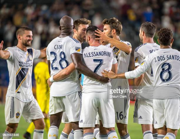 Romain Alessandrini of Los Angeles Galaxy celebrates his second goal during the Los Angeles Galaxy's MLS match against Columbus Crew at the StubHub...