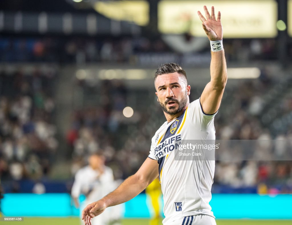 Romain Alessandrini #7 of Los Angeles Galaxy celebrates his seconds goal during the Los Angeles Galaxy's MLS match against Columbus Crew at the StubHub Center on July 7, 2018 in Carson, California. Los Angeles Galaxy won the match 4-0