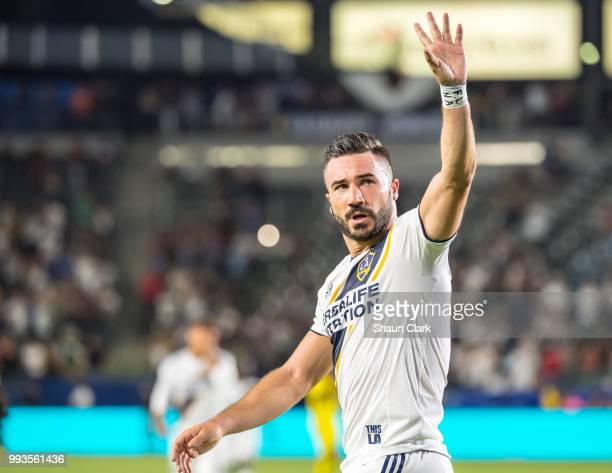 Romain Alessandrini of Los Angeles Galaxy celebrates his seconds goal during the Los Angeles Galaxy's MLS match against Columbus Crew at the StubHub...