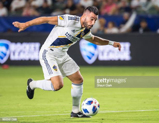 Romain Alessandrini of Los Angeles Galaxy charges in to score a goal during the Los Angeles Galaxy's MLS match against Columbus Crew at the StubHub...