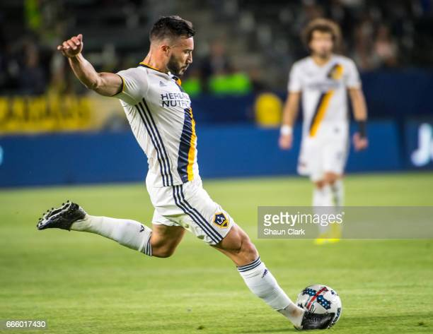 Romain Alessandrini of Los Angeles Galaxy during Los Angeles Galaxy's MLS match against Montreal Impact at the StubHub Center on April 7 2017 in...