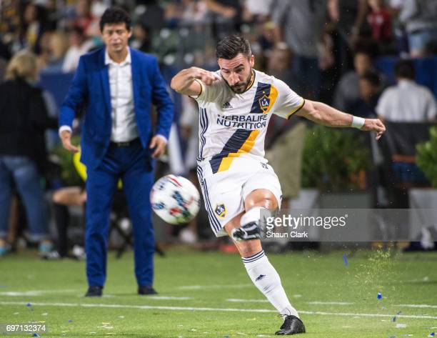Romain Alessandrini of Los Angeles Galaxy during the Los Angeles Galaxy's MLS match against Houston Dynamo at the StubHub Center on June 17 2017 in...