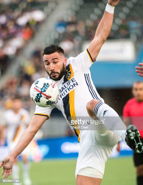 Romain Alessandrini of Los Angeles Galaxy during the Los Angeles Galaxy's MLS match against Sporting KC at the StubHub Center on June 24 2017 in...