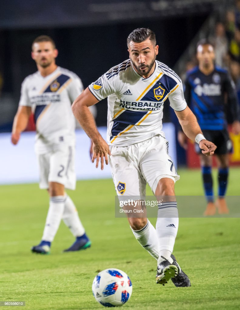 Romain Alessandrini #7 of Los Angeles Galaxy during the Los Angeles Galaxy's MLS match against San Jose Earthquakes at the StubHub Center on May 25, 2018 in Carson, California. The Los Angeles Galaxy won the match 1-0