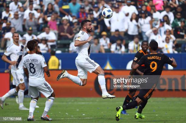 Romain Alessandrini of Los Angeles Galaxy plays the volley during the MLS match against the Houston Dynamo at StubHub Center on October 28 2018 in...