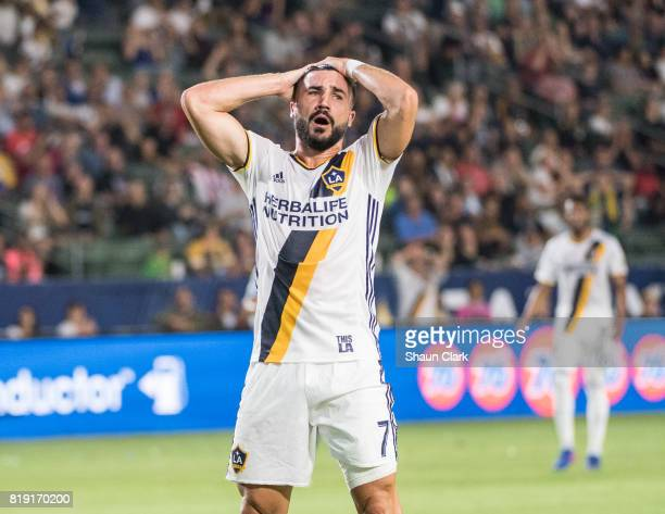 Romain Alessandrini of Los Angeles Galaxy reacts to missing a goal during the Los Angeles Galaxy's MLS match against Vancouver Whitecaps at the...