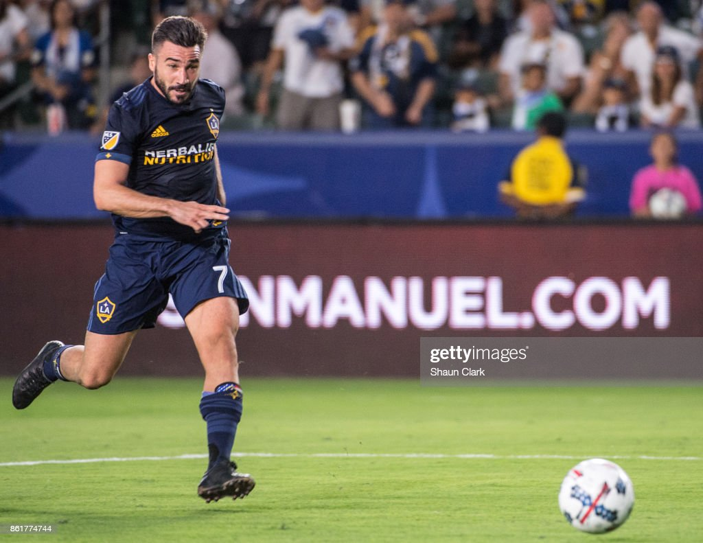 Romain Alessandrini #7 of Los Angeles Galaxy scores his 2nd goal during the Los Angeles Galaxy's MLS match against Minnesota United at the StubHub Center on October 15, 2017 in Carson, California. Los Angeles Galaxy won the match 3-0