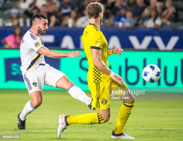 Romain Alessandrini of Los Angeles Galaxy scores his second goal during the Los Angeles Galaxy's MLS match against Columbus Crew at the StubHub...