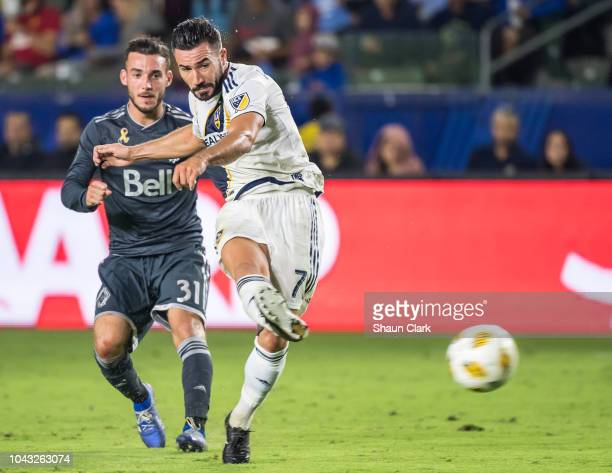 Romain Alessandrini of Los Angeles Galaxy shoots on goal during the Los Angeles Galaxy's MLS match against Vancouver Whitecaps at the StubHub Center...