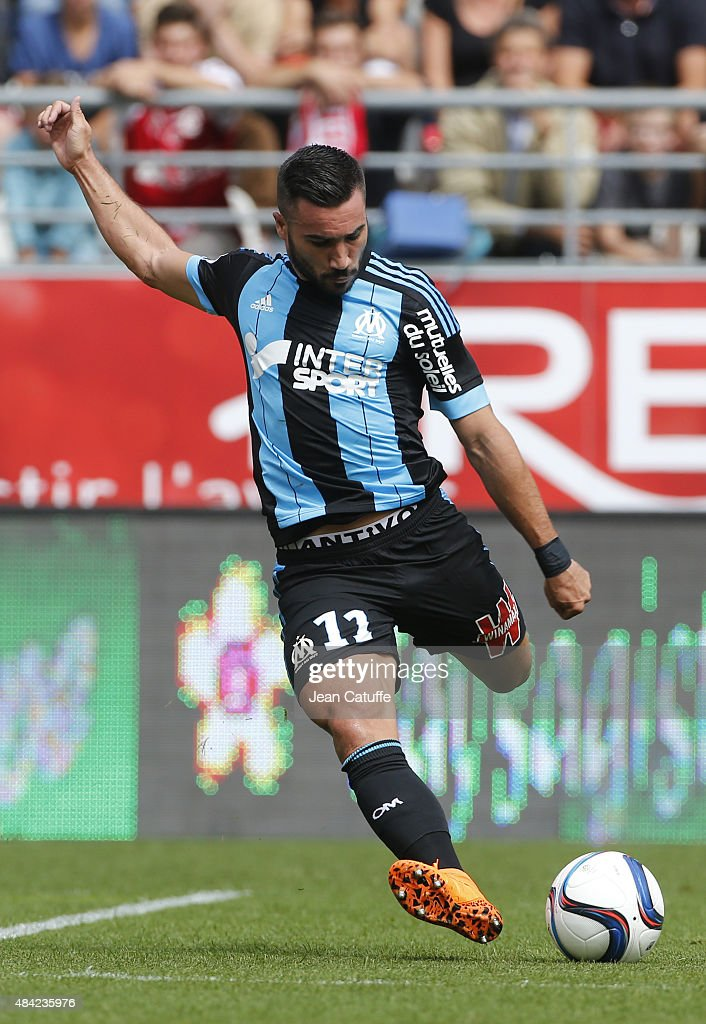 Romain Alessandrini of Olympique de Marseille in action during the French Ligue 1 match between Stade de Reims and Olympique de Marseille (OM) at Stade Auguste Delaune on August 16, 2015 in Reims, France.