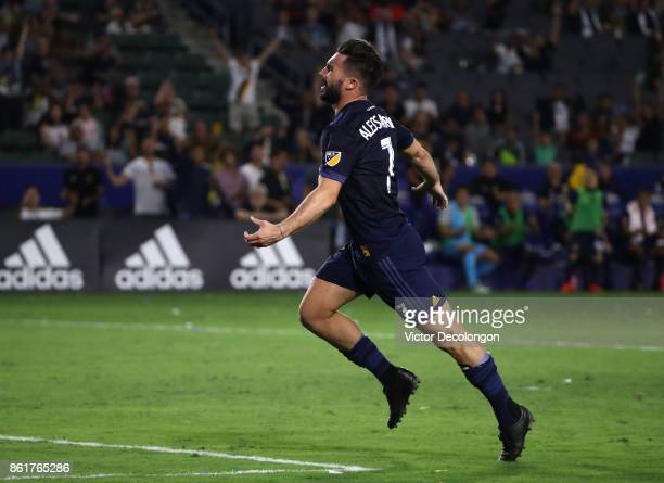 Romain Alessandrini of the Los Angeles Galaxy celebrates after scoring a goal in the second half during the MLS game against Minnesota United FC at...