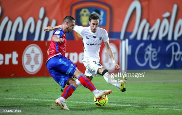 Romain Armand of Gazelec and Vincent Rufli of Paris FC during the Ligue 2 match between Gazelec Ajaccio and Paris FC at Stade Ange Casanova on July...