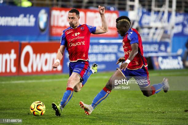 Romain Armand of Gazelec during the Ligue 2 match between Gazelec Ajaccio and RC Lens at Stade Ange Casanova on March 18 2019 in Ajaccio France