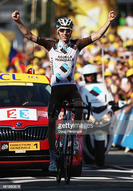 Romain Bardet of France and AG2R La Mondial Team crosses the finish line to win Stage Eighteen of the 2015 Tour de France, a 186.5km stage between...