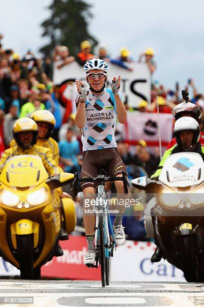 Romain Bardet of France and AG2R La Mondial Team crosses the finish line to win the 146 km mountain stage nineteen of Le Tour de France from...
