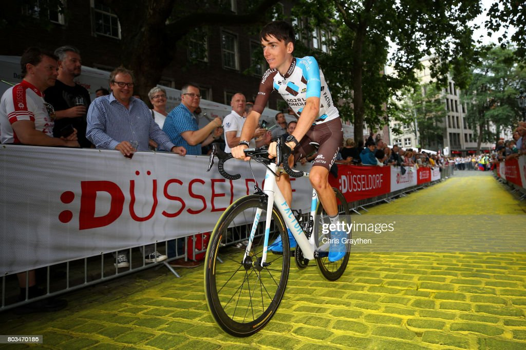 Romain Bardet of France and AG2R La Mondial Team rides during the team presentation for the 2017 Le Tour de France on June 29, 2017 in Duesseldorf, Germany.