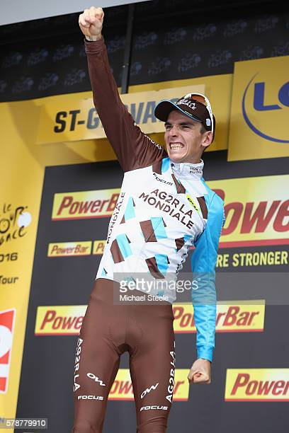Romain Bardet of France and AG2R La Mondiale celebrates stage victory on the podium following the 146km stage nineteen of Le Tour de France from...