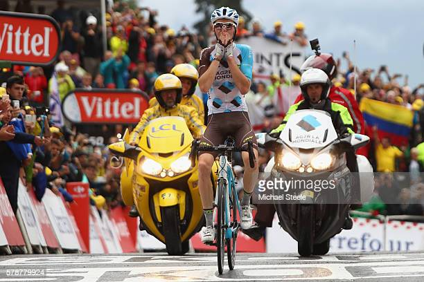 Romain Bardet of France and AG2R La Mondiale celebrates stage victory during the 146km stage nineteen of Le Tour de France from Albertville to...