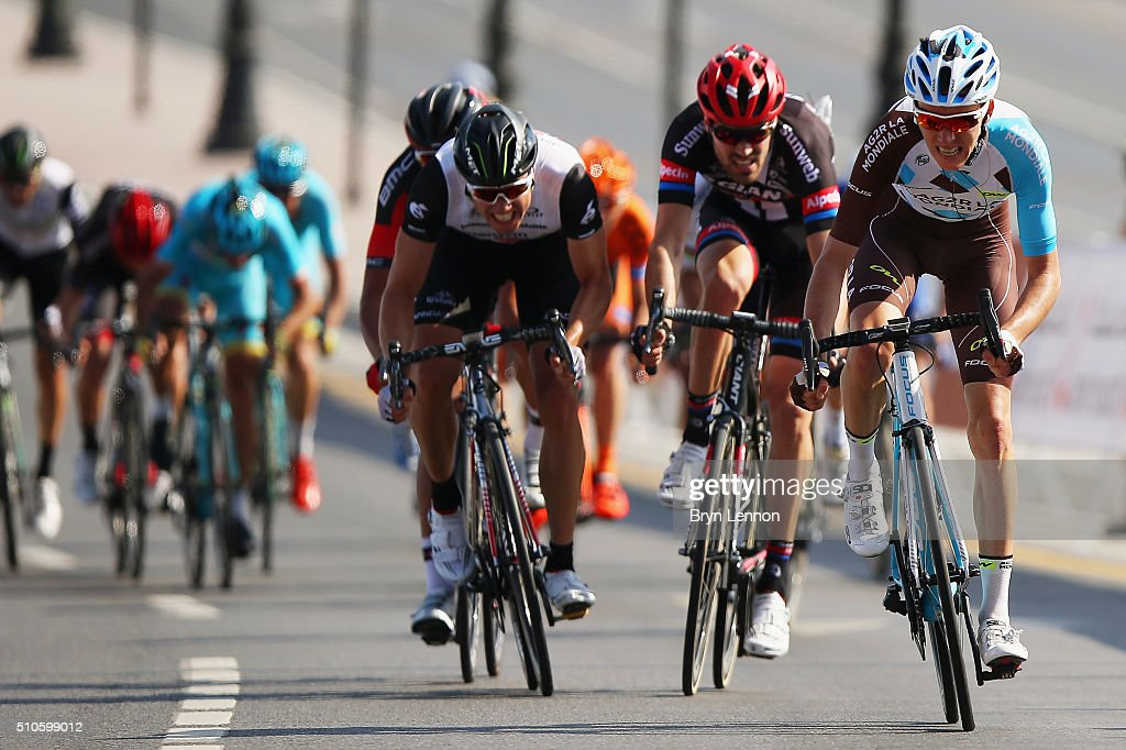 Romain Bardet of France and AG2R-La Mondiale leads Tom Dumoulin of the Netherlands and Team Giant-Alpecin and Edvald Boasson Hagen of Norway and Dimension Data on stage one of the 2016 Tour of Oman, a 145km road stage from Oman Exhibition Centre to Al Bustan on February 16, 2016 in Muscat, Oman.